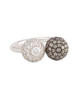 Maria Canale for Forevermark 18k White Gold Pave White & Gray Diamond Ball Ring, 0.92 TCW