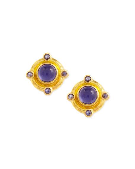Elizabeth Locke 19k Gold Iolite Stud Earrings