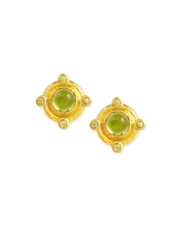 Elizabeth Locke 19k Gold Peridot Stud Earrings