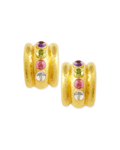 Elizabeth Locke Pastel Tutti Frutti Amalfi 19k Gold Hoop Earrings
