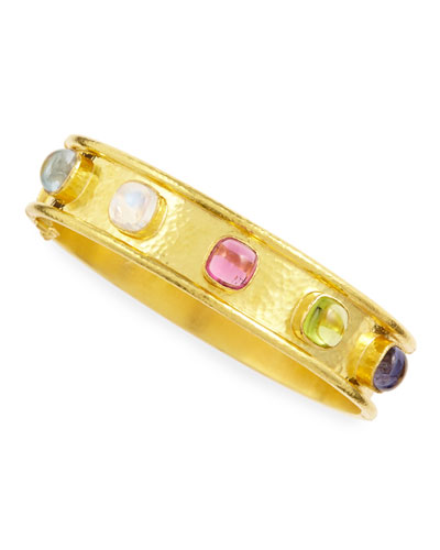 Elizabeth Locke Tutti Frutti Stone-Studded 19k Gold Bangle