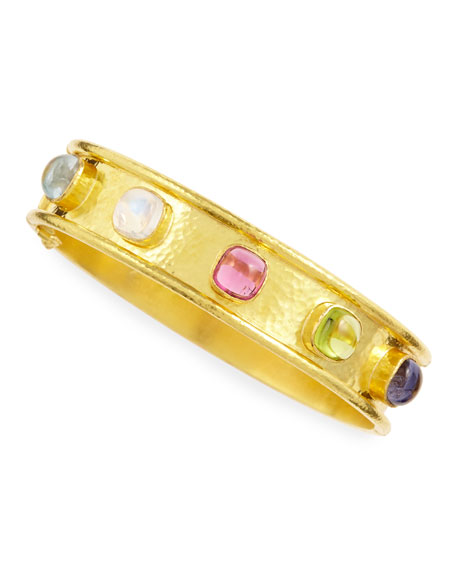 Elizabeth LockeTutti Frutti Stone-Studded 19k Gold Bangle