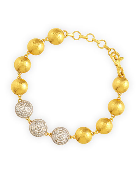 Lentil Ice 24k Gold & Diamond Bracelet