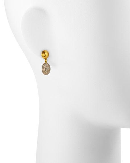 Lentil Ice 24k Gold & Diamond Drop Earrings