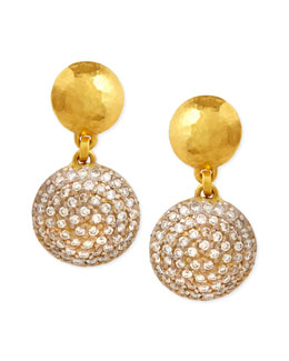 Gurhan Lentil Ice 24k Gold & Diamond Drop Earrings