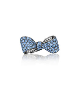 Mimi So Bow Large 18k Gold Sapphire & Diamond Ring