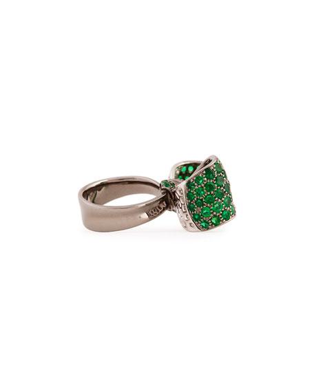 Bow Large 18k Gold Emerald & Diamond Ring, Size 6