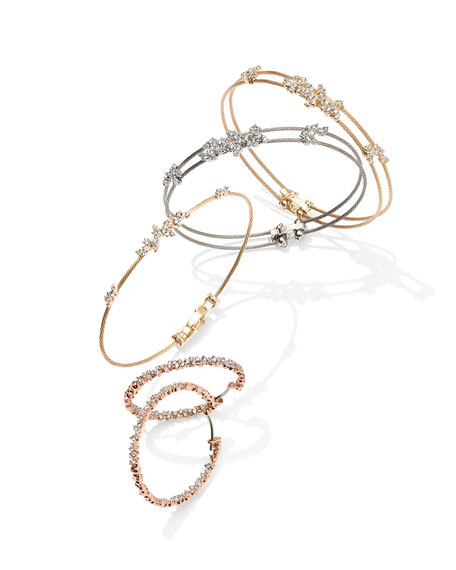 Diamond Confetti Double Wire Bracelet, White Gold