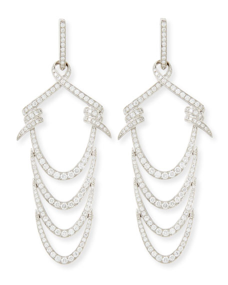 18K Barbed Ripple Earring with Diamonds