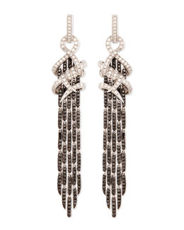 Stephen Webster 18k White Gold Diamond Barb Earrings with Black Diamond Fringe