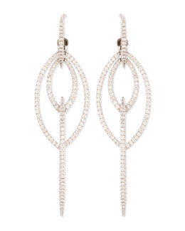 Stephen Webster 18k White Gold Thorn Marquise Earrings with Diamond Pave
