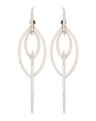 18k White Gold Thorn Marquise Earrings with Diamond Pave