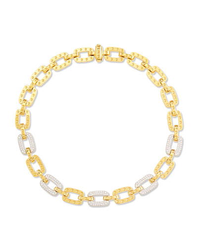 Roberto Coin Pois Moi 5-Diamond Square Link Necklace, Yellow Gold