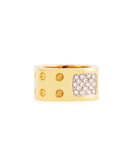 Roberto Coin Pois Moi Two-Row Diamond Ring, Yellow Gold