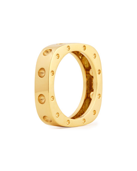 18k Pois Moi Single Row Square Band Ring, Yellow Gold