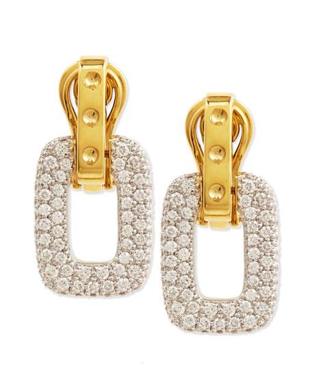 Pois Moi Diamond Square Dangle Drop Earrings, Yellow Gold