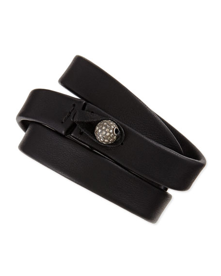 Black Leather Wrap Bracelet with Diamond Bead