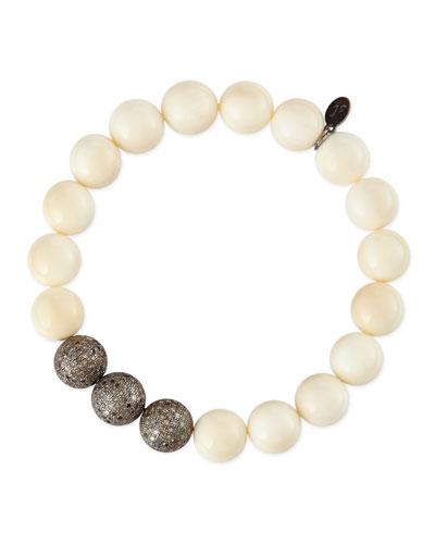 Sheryl Lowe 10mm Bone & Triple Pave Diamond Beaded Bracelet