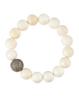 Sheryl Lowe 12mm Bone & 14mm Single Pave Diamond Beaded Bracelet