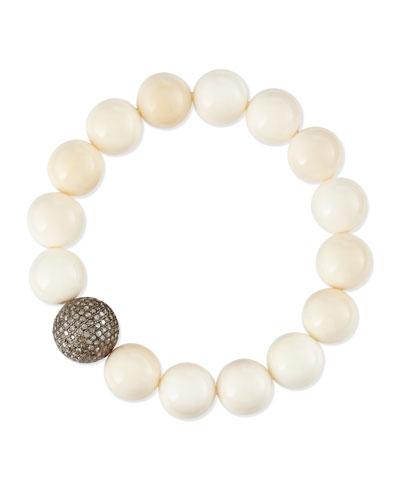 Sheryl Lowe 12mm Bone & 14mm Single Pave Diamond Beaded Bracelet