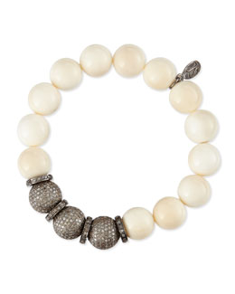 Sheryl Lowe 12mm Bone & Triple Pave Diamond Beaded Bracelet with Rondelles