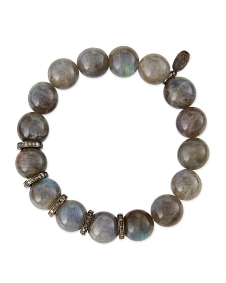 12mm Labradorite Beaded Bracelet with 10mm Diamond Rondelles, 0.9 TCW