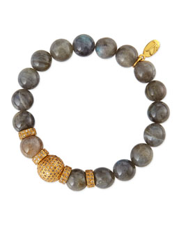 Sheryl Lowe 12mm Labradorite Beaded Bracelet with 12mm Single Pave Diamond Bead & 8mm Rondelles