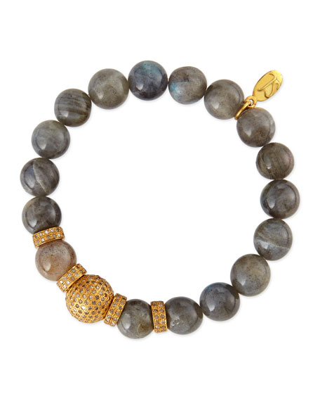 12mm Labradorite Beaded Bracelet with 12mm Single Pave Diamond Bead & 8mm Rondelles