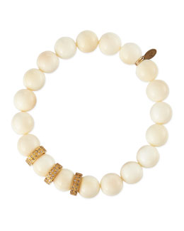 Sheryl Lowe 10mm Bone Beaded Bracelet with Diamond Rondelles