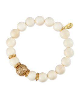 Sheryl Lowe 10mm Bone & 12mm Single Pave Diamond Beaded Bracelet & 8mm Rondelles