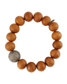 Sheryl Lowe 14mm Sandalwood & 16mm Single Pave Diamond Beaded Bracelet