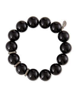 Sheryl Lowe 14mm Black Onyx Beaded Bracelet with 10mm Diamond Rondelles