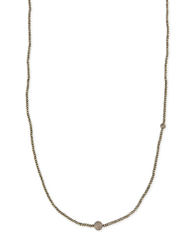 "Sheryl Lowe Faceted Pyrite Necklace with Pave Diamond Beads, 44""L"