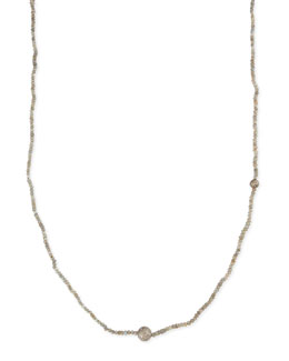 "Sheryl Lowe Faceted Labradorite Necklace with Pave Diamond Beads, 44""L"