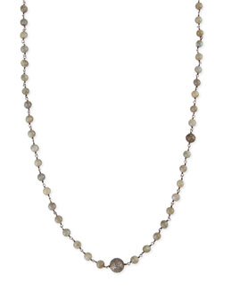 Sheryl Lowe Polished Labradorite Necklace with Pave Diamond Beads, 44""