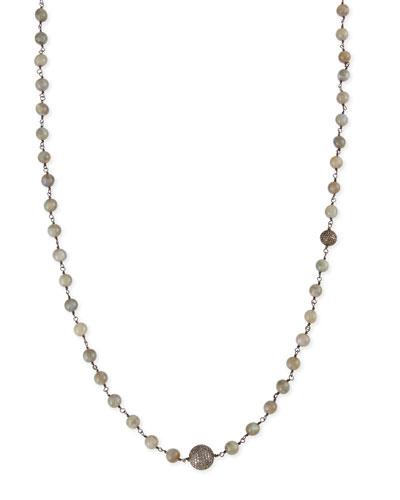 "Sheryl Lowe Polished Labradorite Necklace with Pave Diamond Beads, 44"""