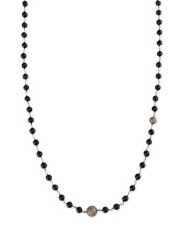 Sheryl Lowe Polished Black Onyx Necklace with Pave Diamond Beads, 44""