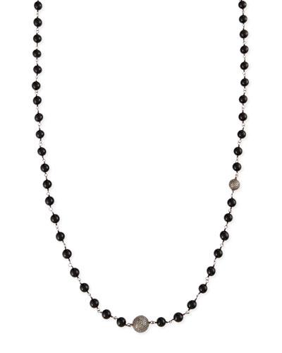"Sheryl Lowe Polished Black Onyx Necklace with Pave Diamond Beads, 44"""