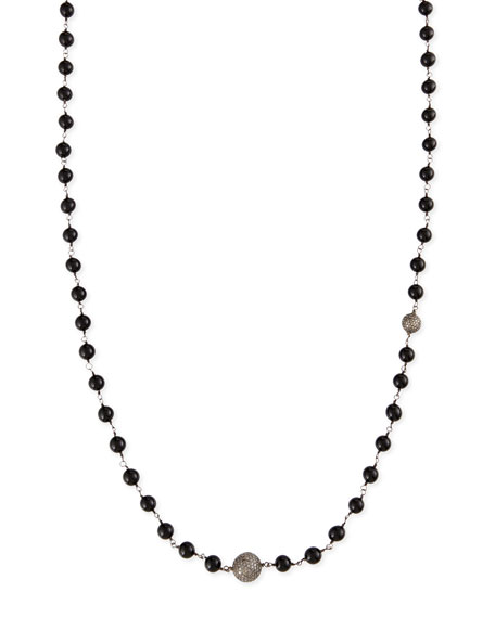 Polished Black Onyx Necklace with Pave Diamond Beads, 44""