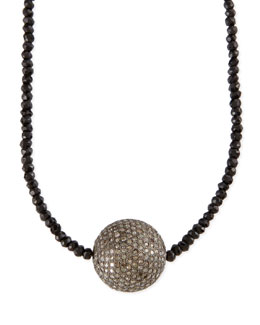 Sheryl Lowe Faceted Black Spinel Necklace with Pave Diamond Bead, 44""