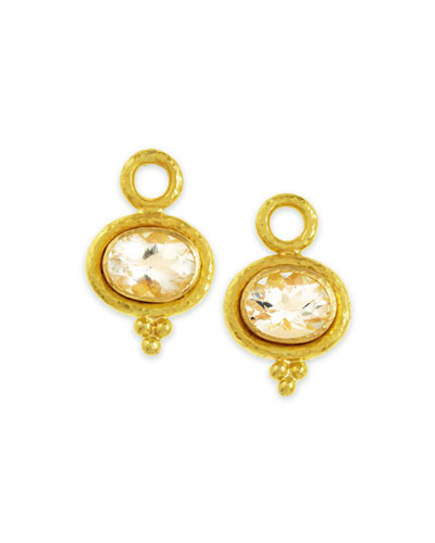 Elizabeth Locke Faceted Moonstone Earring Pendants, 7mm