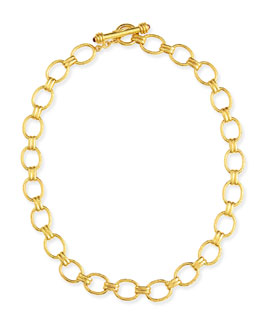 "Elizabeth Locke Rimini Gold 19k Link Necklace with Ruby, 17""L"