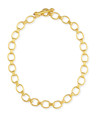 "Rimini Gold 19k Link Necklace with Ruby, 17""L"