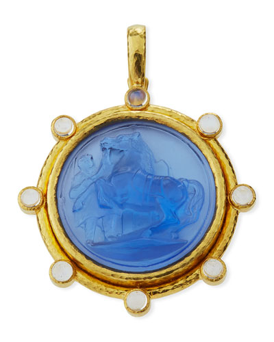 Elizabeth Locke Ancient Horse Antique 19k Gold Intaglio Pendant, Cerulean