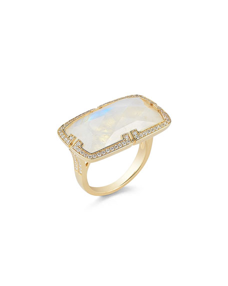 Patras Rainbow Moonstone East-West Ring with Deco Diamond