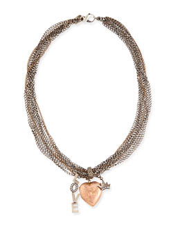 Irit Design Antique Pink Gold Heart Locket Necklace with Diamonds, Love & Crown Charm, 17""