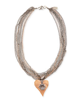 Irit Design Hammered Pink Gold Heart Necklace with Diamond Crown