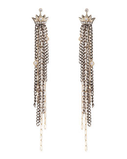 Irit Design Pave Diamond Crown Earrings with Chain Fringe Drops