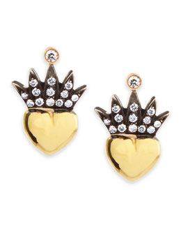 Irit Design Heart & Pave Diamond Crown Stud Earrings