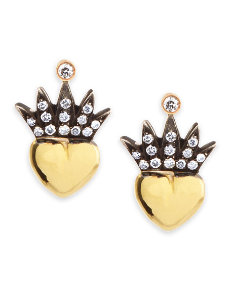 Irit Design Heart & Pave Diamond Crown Stud